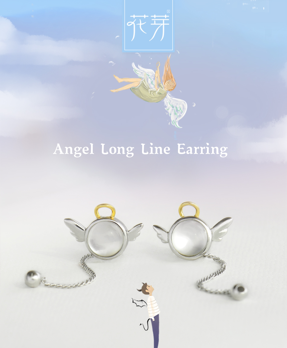 HTB1lGroEYGYBuNjy0Foq6AiBFXa5 Thaya original angel design stud earrings s925 sterling silver wing crystal + shell long line earring for women ladies gift