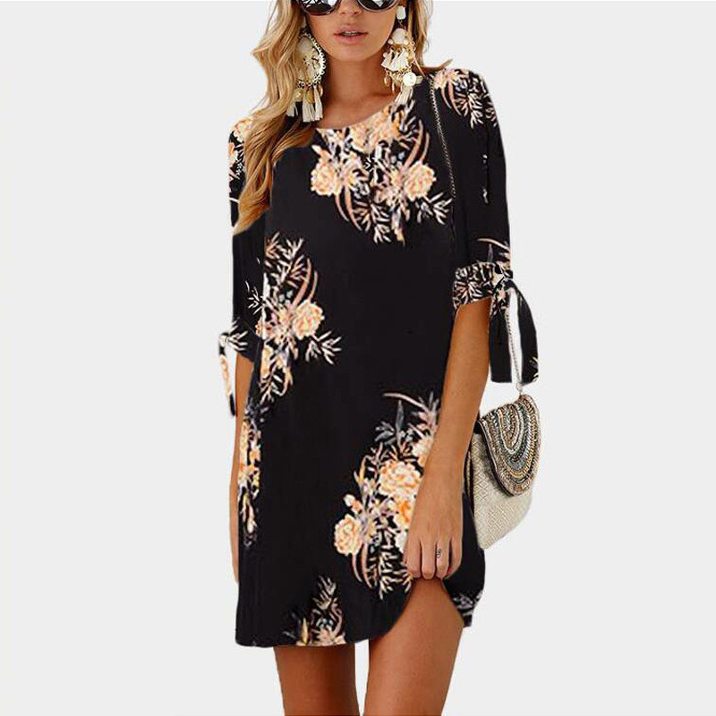 Women Summer Dress Boho Style Floral Print Chiffon Beach Dress Tunic  Sundress Loose Mini Party Dress Plus Size 5XL