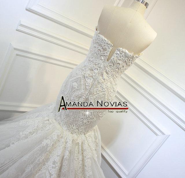 Champagne Mermaid Wedding Dress Full Beading