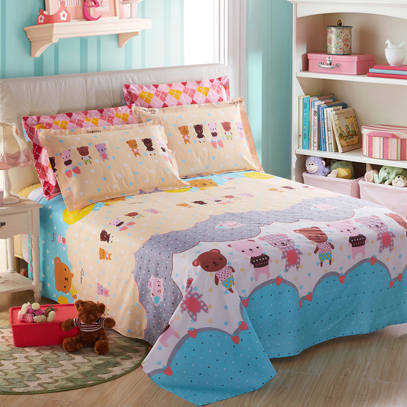 100% Cotoon cartoon style bear pattern child/boy/girl bedding set bed sheet set pillowcase bedsheet bedlinen home textiles
