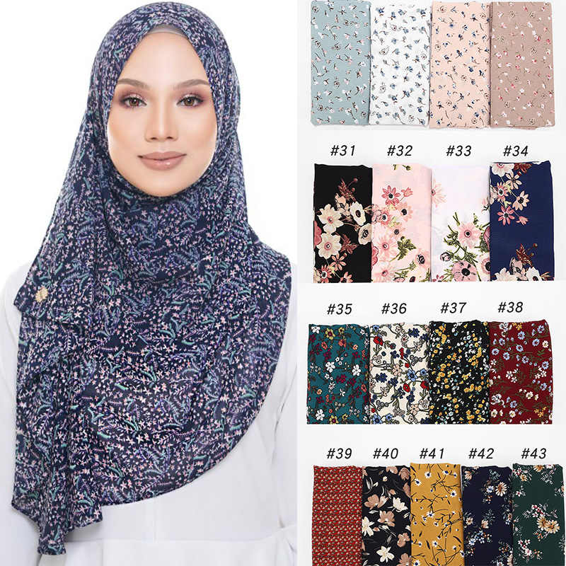 New bubble chiffon hijab scarf design flower shawls muslim scarves headscarf wraps Turbans headband long scarves 43 COLORS