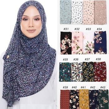 New Bubble Chiffon Hijab Scarf Design Flower Shawls Muslim Scarves Headscarf Wraps Turbans Headband Long
