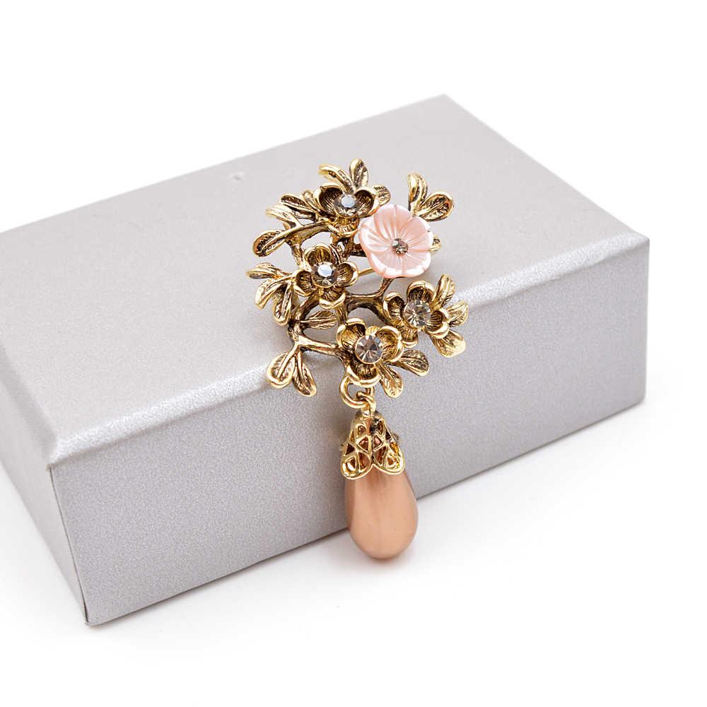 Cindy Xiang Baru Shell Bunga Air-Drop Bros untuk Wanita Antik Warna Emas Berlian Imitasi Vintage Pin Kualitas Tinggi 2019