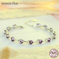 Dower Me 925 Sterling Silver Fashion Women Heart Diamond Bracelet Fine Jewelry Elegant Charm Bracelet For