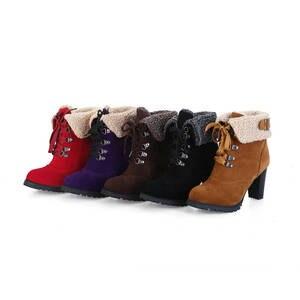 Image 5 - MORAZORA 2020 sıcak satış kar botları kadın akın rusya sıcak tutmak sonbahar kış çizmeler dantel up yüksek topuklu yarım çizmeler için kadın ayakkabı