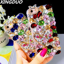 XINGDUO Luxury Glitter Rhinestone Crystal diamond love flower case cover for iphone X XS XR MAX 6 6S 7 8 rhinestone soft