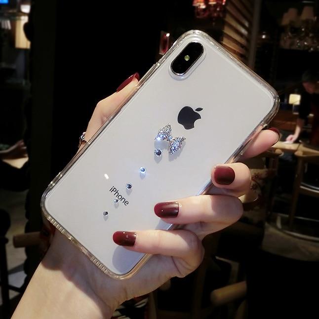 XINGDUO Luxury Rhinestone Diamonds Clear Mobile Phone Case Soft TPU Cover For iPhone X XS MAX 7 8 PLUS 6s 7plus Simple case