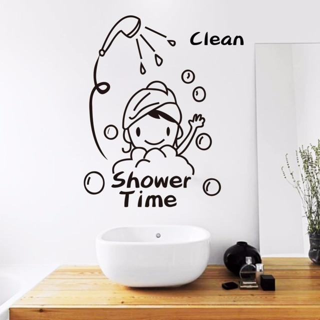 lustige pvc wasserdichte baby der dusche zeit wandaufkleber bad glast r entfernbare aufkleber. Black Bedroom Furniture Sets. Home Design Ideas