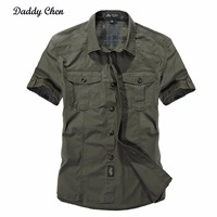 Jeep Solid Color Cotton Mens Shirts Short Sleeve Turn Down Collar Army Green Khaki Men Tops