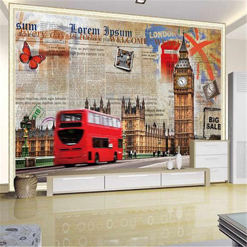 Custom 3D Stereoscopic Wallpapers City Theme Wall Murals European London Street Big Ben for Living Room Wall Papers for Walls 3D