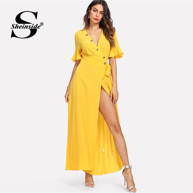 51f5fb0cb4 Sheinside Bell Sleeve Buttoned Deep V-Neck Wrap Dress Yellow Short Sleeve  High Waist Party Dress Women Summer Maxi Dresses