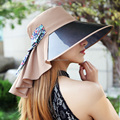 Прекрасный летний cap плащ женщины sunbonnet плиссированные аппликация купол плоские края шапки улица большими полями шляпы