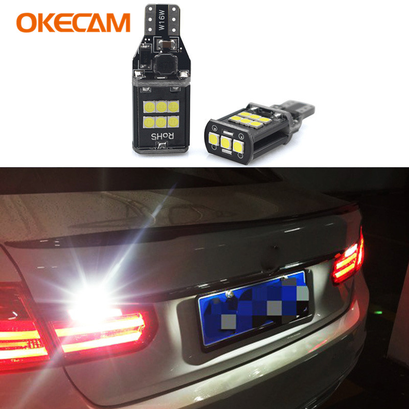 OKECAM 2x T15 W16W LED Reverse Light Bulbs Backup Lamp 921 912 Canbus 2835 SMD White for BMW F10 F11 528i 535i xDriver 2009-2016 t15 led lights white car backup light w16w reverse lamp tail bulbs 32 smd xenon white 12v car lights source 2pcs high power new