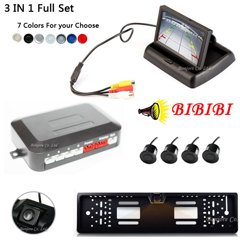 Parking Assistance 3in1 Car Distance Sensors 4.3 Inch TFT Monitor Car Europe License Plate Frame Rearview Camera 3 in 1 full Set compass print racerback cut out swimsuit