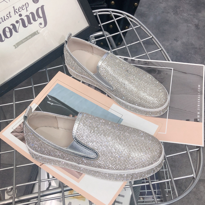 Korean version of the wild casual pedal lazy shoes rhinestone thick bottom sets of single shoes women