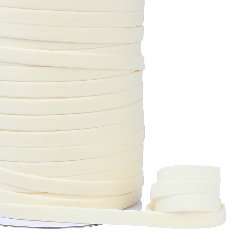 250 yards per lot wholesale 10mm high quality soft ivory velvet elastic ribbons