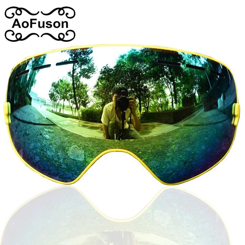 Prix pour AoFuson double Anti-Brouillard Ski Lunettes grand sphérique lentille UV De Protection esqui sports d'hiver motocross Snowboard Ski Lunettes masque