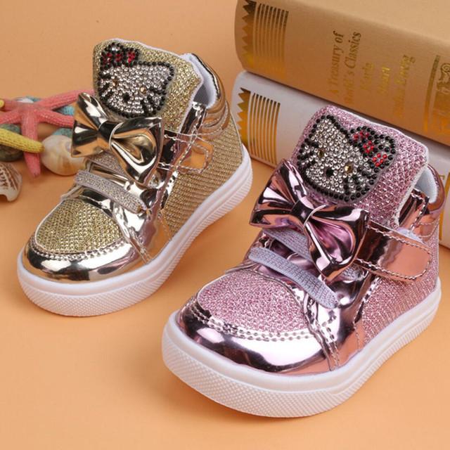 Moda Pu Zapatos de Los Niños Muchachas de Los Muchachos de Malla Transpirable 2015 Niños Kids Hello Kitty Gato Zapatillas de Deporte Del Bebé Niños Pequeños