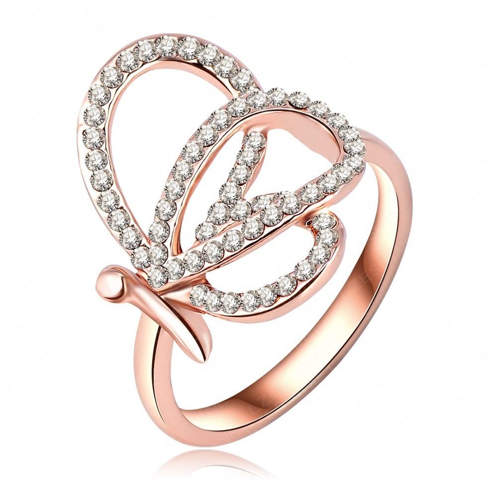 Fancy Design Latest Female Rings Genuine Austrian Crystal 18K Rose ...