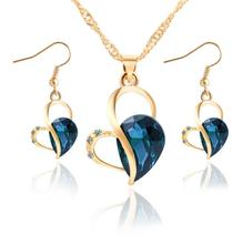 2016 New Fashion Women Jewelry Set Necklace Earrings Heart Love Crystal Rhinestone Gem Jewelry Sets For Women Wholesale XY-N579