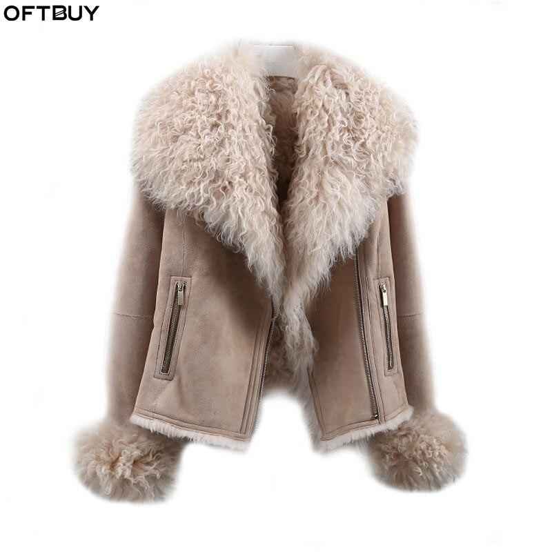 OFTBUY 2019 Winter Jacket Women Real Double-faced Fur Coat Natural Mongolia Sheep Fur Parka Biker Streetwear Vintage Fashion