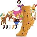 Branca de neve e os Anões Desenhos Animados Mulheres Meias de Algodão Retro estilo de casa de fazenda arte da pintura impressão meias princesa meias senhoras