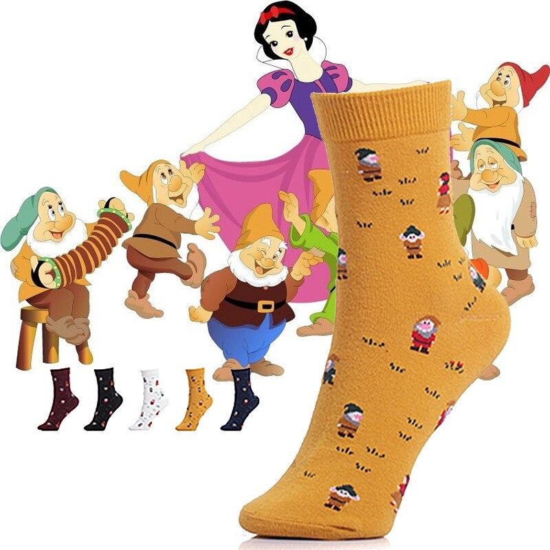 Snow White And The Dwarfs Cartoon Cotton Women Socks Retro Farmhouse Style Printing Painting Art Socks Princess Ladies Socks