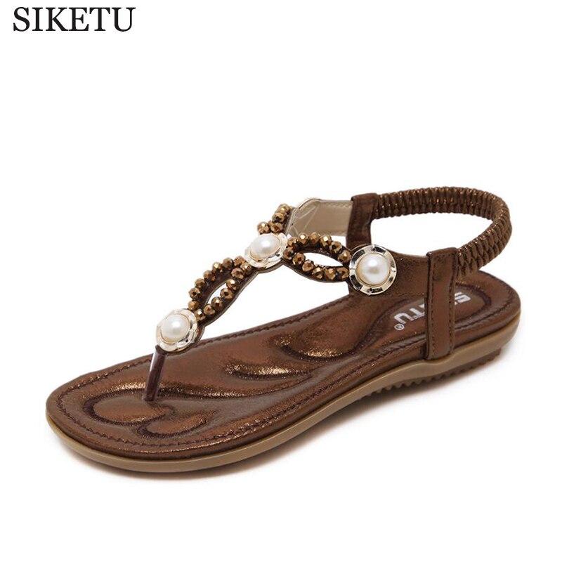 4d03a339e96 flip flops 2017 Woman Sandals Bead Bohemian Clip Toe Comfortable Thong Shoes  Boho Elastic Band Back Strap Flat Beach Shoes k203