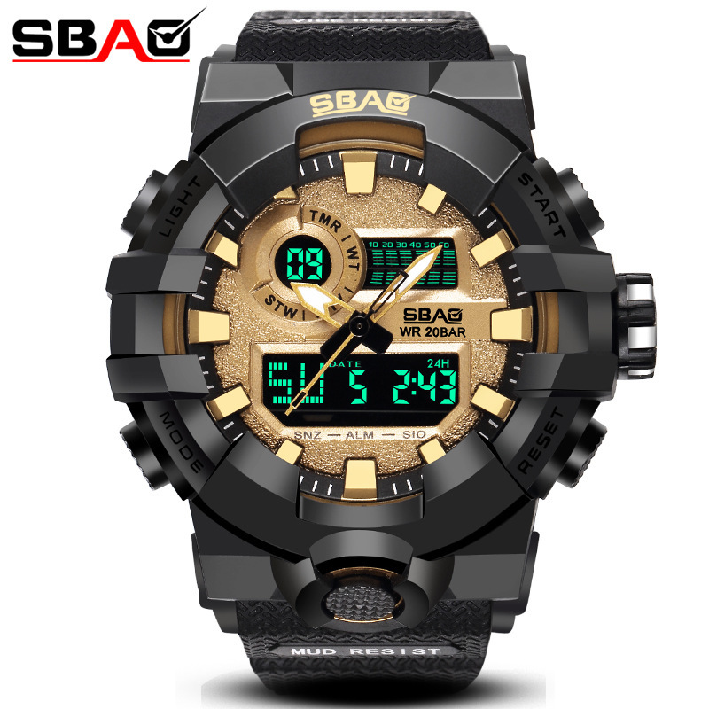 SBAO Electronic Men's Student Sports Couple Pu With Korean Version Of The Large Dial Quartz Wrist Watch Men Montre Homme Watches