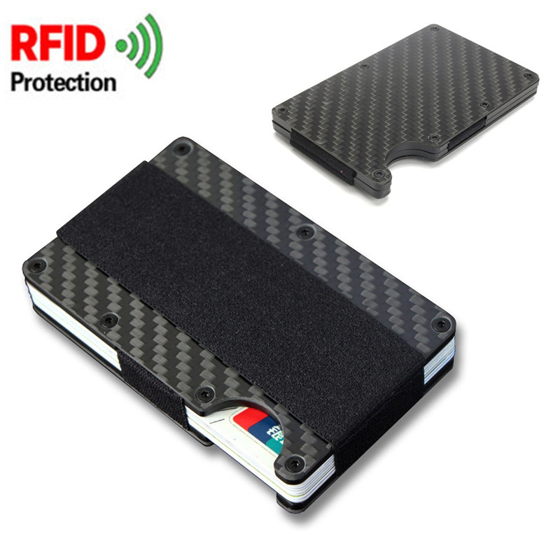 AEQUEEN ID Bank Credit Card Protection Holder Carbon Fiber Anti Theft Rfid Blocking Wallet Covers Porte Carte Metal Travel Case wallet credit card holder