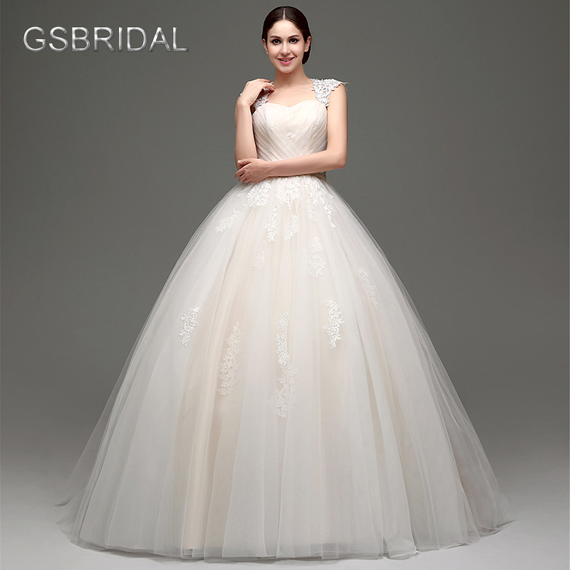 GSBRIDAL Sweetheart Lace Appliques Puffy Tulle Waist Beading Belt Bow Bridal Wedding Dress