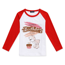 Hot Products Girls Long Sleeve Tops Toy Bear Printing Color Block T-Shirt Cotton Baby Girl Tshirt Happy Birthday Kids T Shirt color block long sleeve applique shirt