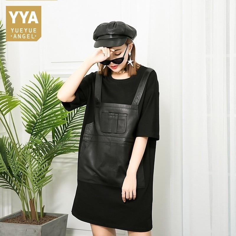 Black Mouton De Nouveau Cuir Mode Peau Femmes Robe Noir Faux Véritable Pièce Bretelles Patchwork En Automne Hiver Splice Deux 7AOxwTqUq