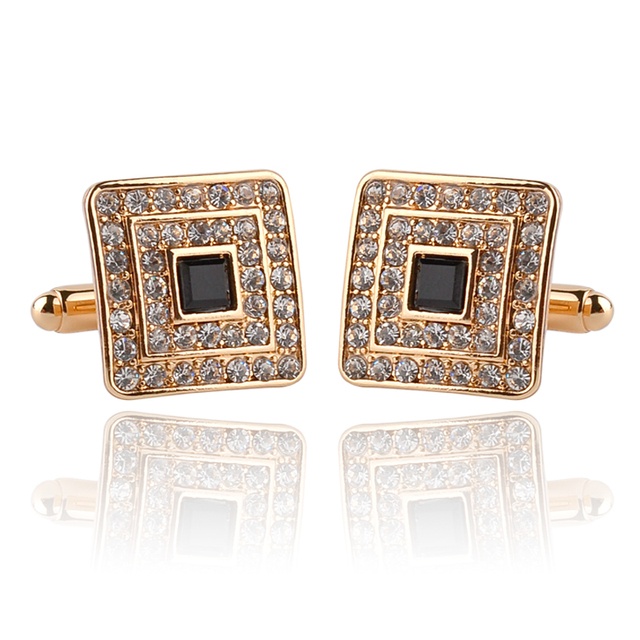 Crystal Golden Plated Cufflink For Men