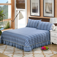 1pc 100% Polyester Plaid&Plant Sheet Printed Flat Sheet Bed Linen Twin Full Queen King Size