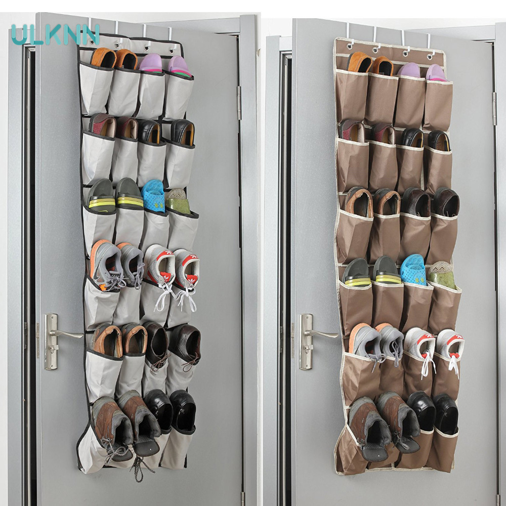 24 Pockets Over The Door Shoe Organizer Transparent Oxford Storage Bag Hanging Shoe Shelves Toys/ Sundries Organizer