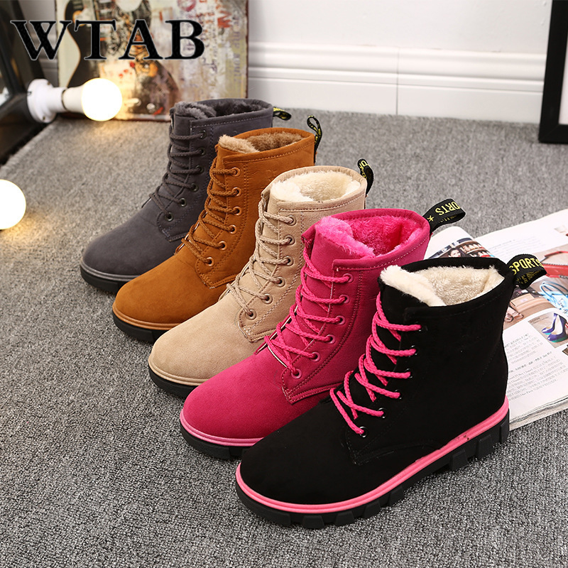 WTAB warm boots women 2018 casual simier autumn and winter shoes woman Plus Size lace up Pointed Toe women boots plush snow boot