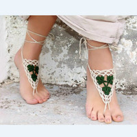 Yinian Crochet Barefoot Sandals Nude Shoes Foot Jewelry Beach Wedding Sexy Anklet Bellydance Beach Footwear Anklet