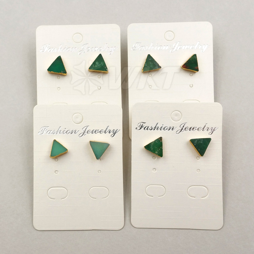 WT-E373 Wholesale Triangle Gems studs with gold delta bowlder studs Yu stone studs Australia Chrysoprase studs with gold plating