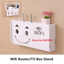1PC Wooden Wall Mounted Home Office Wireless Wifi Router Set-top Stand TV Box Holder Hangings Bracket Cable Storage Rack