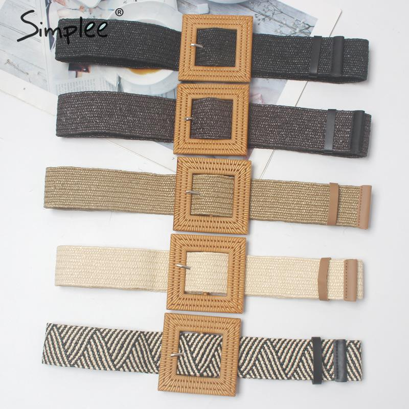 Simplee Trendy Wide Women Belt Summer Square Buckle Female Braided Belt Dress Casual Ladies Strap Decoration Belt Accessories