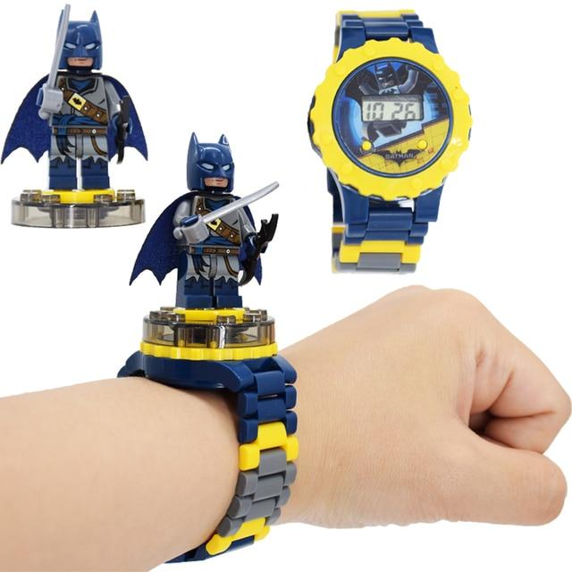 Crianças Relógio de Brinquedo Homem de Ferro Marvel Avengers Bat Aparelhos Eletrônicos Princesa Meninas Presente de Aniversário Blocos Brinquedos Educativos para Crianças