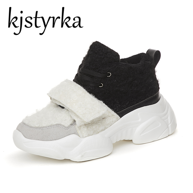 Kjstyrka Hot Sale Fashion Winter Fur Plush Wedges Shoes For Women Autumn Female Sneakers Light Lace up Casual Shoes Footwear