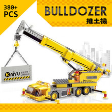 Free shipping 2014New Hot large 3D DIY Plastic building block sets enlighten bricks blocks children toys gift Engineering  crane