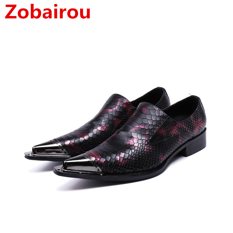 Zobairou Italian mens shoes brands mocassin homme iron toe snake skin men shoes leather oxford formal shoes	size47