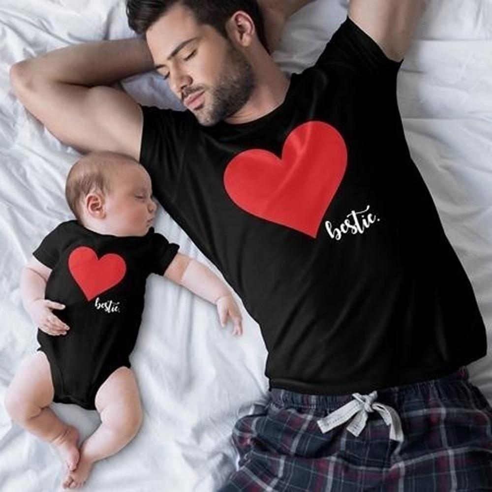 CALOFE famille correspondant vêtements coeur homme T shirt papa et tenues père fils papa bébé garçon enfants Look torridité frères 3