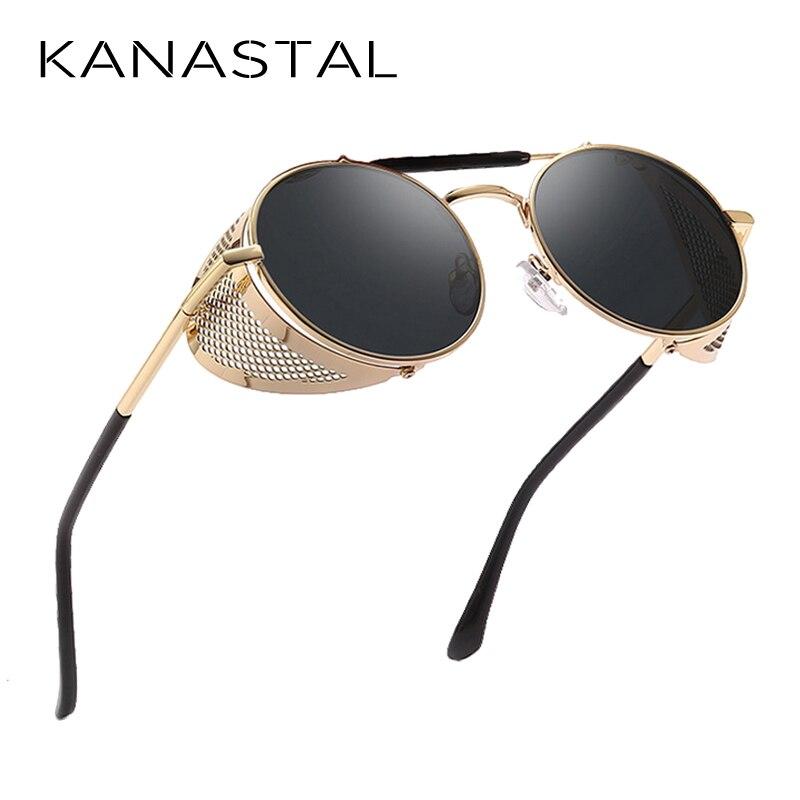 Ретро Круглые Солнцезащитные очки в стиле стимпанк Для мужчин Для женщин сбоку очки Щит металлический каркас готическое зеркало линзы солн...