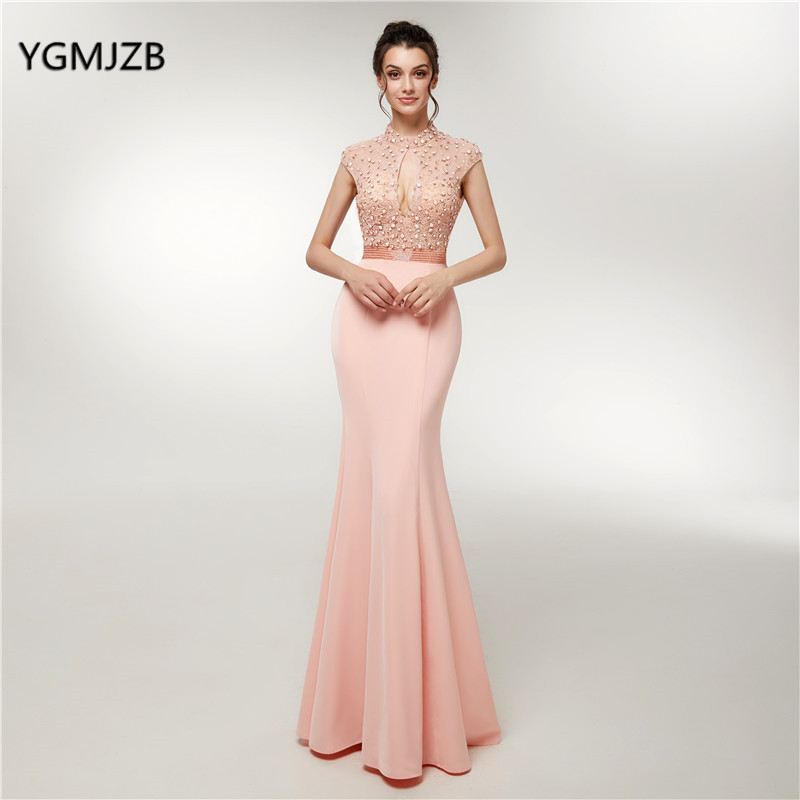 New 2018 Long   Evening     Dress   Mermaid Crystal Beading Luxry Backless Arab Dubai Pink Elegant Prom   Dress   Party Gowns Robe De Soiree