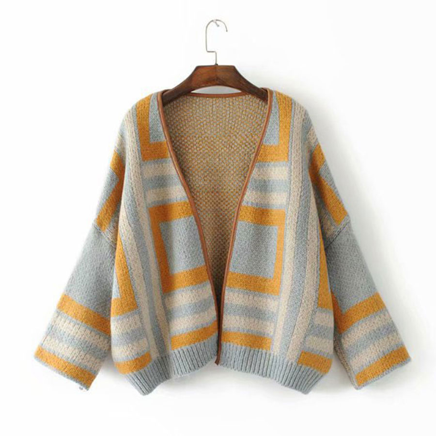 Fashion Striped Loose Cardigans Sweater Women Casual Long Sleeve Knit Open Stitch Winter Fall Women 39 s Fashion Warm Sweater Coats in Cardigans from Women 39 s Clothing