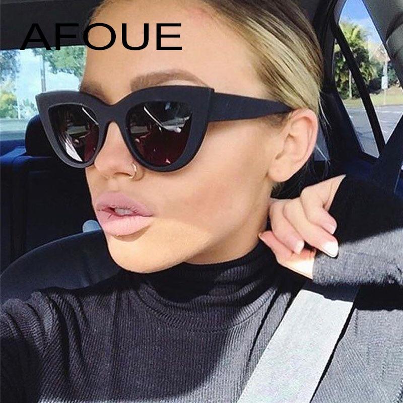 AFOUE Rétro Épais Cadre Cat Eye lunettes de Soleil Femmes Dames De Mode Marque Designer Miroir Lentille Cateye Lunettes de Soleil Pour Femme Oculos